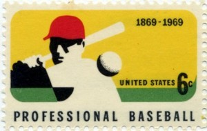 In 1969, the U.S. Postal Service issued a stamp commemorating 100 years of professional baseball.