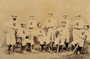 "The 1869 Cincinnati Red Stockings were the nation's first ""professional"" touring baseball team."