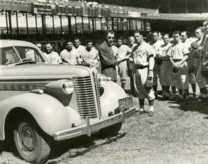 On August 18, 1938, National League President Ford Frick presented Mel Ott with a new sedan after Ott was voted the most popular third baseman in the All-American popularity poll.