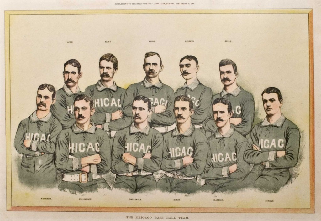 "This Daily Graphic newspaper supplement from the September 27, 1885 shows the National League's Chicago White Stockings (later named the Cubs) featuring Cap Anson (middle top), his star player ""King"" Kelly (top right), Kelly's friend since childhood, pitcher Jim McCormick (bottom left) , and the straight laced Billy Sunday (sitting on the right). The White Stockings dominated play during the mid 1880s."