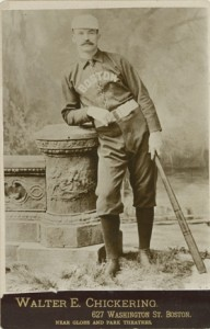"This Walter Chickering cabinet photograph shows Mike ""King"" Kelly in all his splendor. In this column, the first of a two part series, writer Mary Appel writes of Kelly's celebrity status as 19th century baseball's most famous long ball hitter."