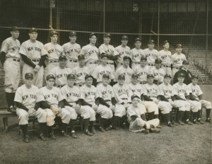 Yankees first baseman Lou Gehrig removed himself from the lineup on May 2, 1939 ending his consecutive game streak at 2,130. Despite announcing his retirement a few weeks later, Gehrig stayed with the team for the remainder of the season. Still team captain, Gehrig is shown here (middle row, fourth from left) in October of 1939, just prior to the start of the World Series.
