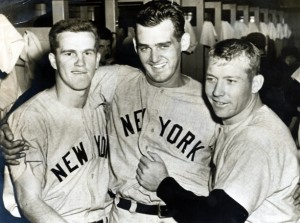 Hurler Don Larsen (center), shown here with Tony Kubek and Mickey Mantle in 1957, made his MLB debut with the St. Louis Browns in 1953. Larsen, who enjoyed a 15-year career, was the last Browns player to see action in the majors.