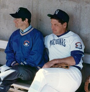 "The author (left) ""managing"" the National League team with some guidance from Tom Seaver.  Photo Credit:  Marty Appel"