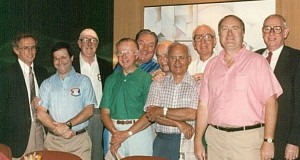 Among the veteran baseball people who served on the advisory committee were (l-r), Tal Smith, the author, Jack Brickhouse, Cliff Kachline, Jim Honochick, Dick O'Connell, Til Ferdenzi, Chuck Stevens, Dick Cecil (the founder), and Richard Waters of The Sporting News. Photo Credit:  Marty Appel