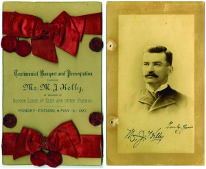 "The colorful 1887 Testimonial Program celebrating a gala event in which the member's of the Boston Elk Lodge welcomed ""King"" to their city, features an extremely scarce ink autograph of the star player."