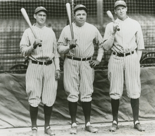 Slugging outfielders Earle Combs, Babe Ruth and Bob Meusel in 1927.
