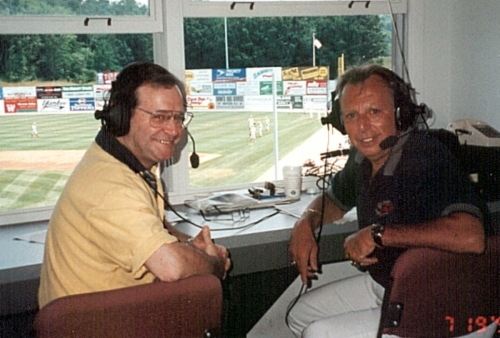 Phil Pepe (right), joined by guest announcer Marty Appel, broadcast Class A New Jersey Cardinals games from 1994-2005. This photo, from the author's collection, was taken in 1999.